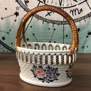 Vintage Boho Floral Basket